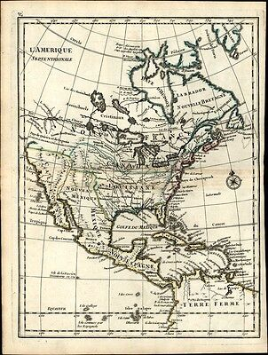 North American River of the West passage continent 1748 antique map Le Rouge