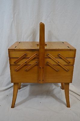 VINTAGE wooden cantilever sewing box LARGE 1950s walnut top
