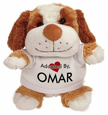 Adopted By OMAR Cuddly Dog Teddy Bear Wearing a Printed Named T-Shirt, OMAR-TB2