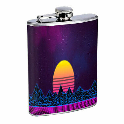 80's Retro Wave 8oz Stainless Steel Flask Drinking Whiskey