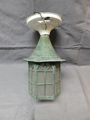 Vtg Arts Crafts Copper Fixture Frosted Glass Panels Porch Ceiling Light 1956-16