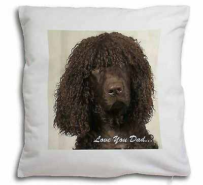 Irish Water Spaniel 'Love You Dad' Soft Velvet Feel Scatter Cushion , DAD-59-CPW