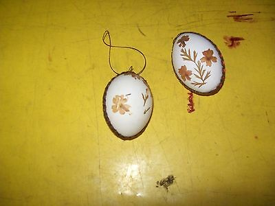 2 vintage handmade real eggs easter decorations