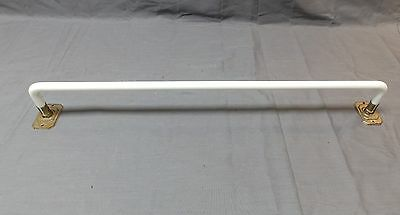 "Vtg 24"" Art Deco Bent Milk Glass Towel Bar Chrome Brackets Old Bathroom 1962-16"