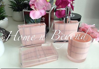 Acrylic Bathroom Accessory Burberry  Set 4 Pc Soap Dish,Toothbrush Dispenser Tum