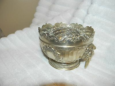 Vtg Corbell & Company Silver Plate Flower Frog Centerpiece Lion Head
