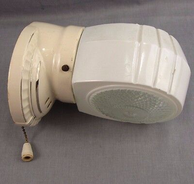 "Vintage Porcelain Wall Sconce Bathroom Wall Light Fixture White Plug 7.5"" Glass"