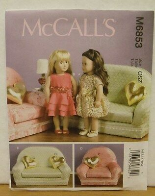 """McCall's   M6853 18""""  Doll Couch & Chair Furniture  Pattern NEW"""