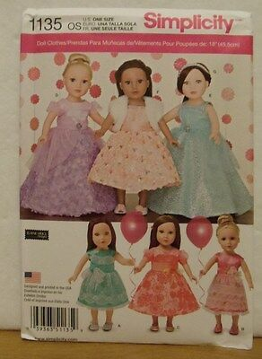"""18"""" Doll Party Clothes Simplicity Pattern 1135 New"""