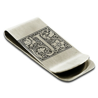 Stainless Steel Floral Initial Box Monogram Slim Wallet Cash Card Money Clip
