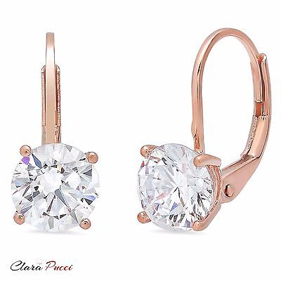 3.0 ct Round Cut Solitaire Stud Earrings in Solid 14k Real Rose Gold Leverback
