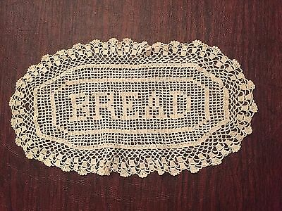 Antique Hand Made Lace Doilie BREAD Vintage