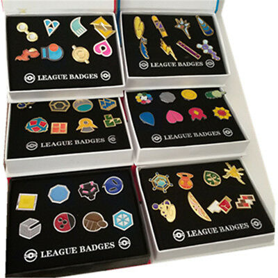 Pokemon: Kanto Gym Badges Set of 8 Metal Pins Gen 48pcs (6 Sets + 6 Boxes)