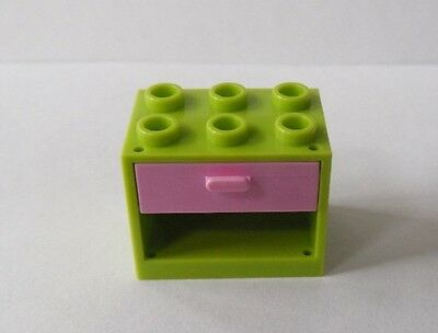 *NEW* 2 Sets Lego LIME GREEN Container CUPBOARD 2x3x2 with WHITE DRAWERS 4532