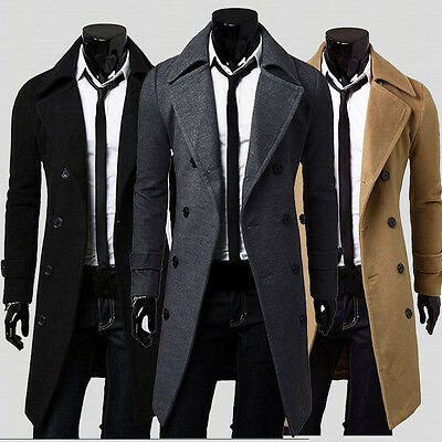 2017 Winter Mens Slim Stylish Trench Coat Thick Double Breasted Long Jacket New