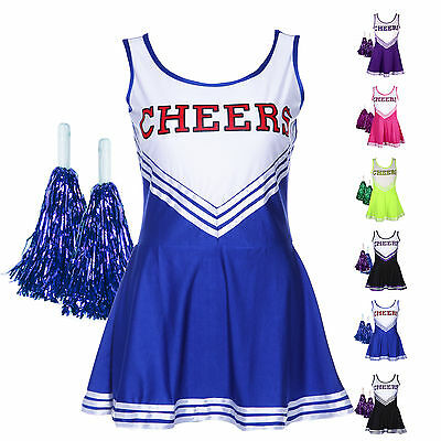 Robe Debardeur Deguisement PomPom Girl Uniforme Cheerleader XS-XL Oversize Femme