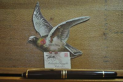 Victorian Die Cut Carrier Pigeon With Letter From Columbus Buggy Co