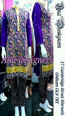 Ethnic Pakistani Designer Fancy Shalwar Kameez Net 4pc(Readymade)Stitched-Size=M