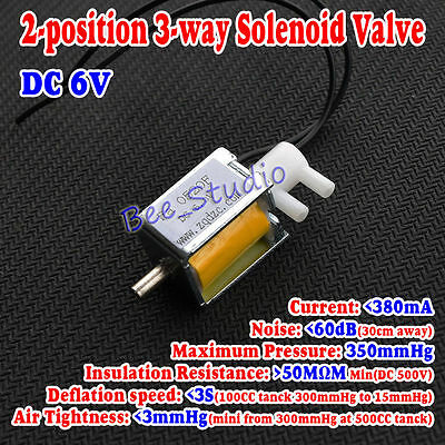 6V DC 2-position 3-way small Mini Electric Solenoid Valve for Gas Air / pump