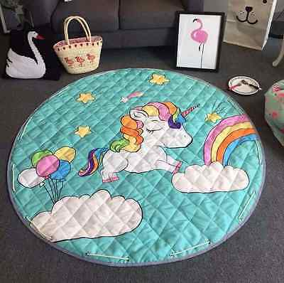 New Baby Padded Round Tummy Time Play Mat Unicorn Nursery Rug Toy Blanket