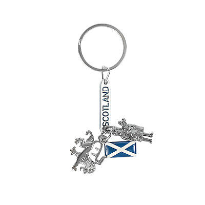 Heritage of Scotland Piper & Lion Rampant Silver Keyring
