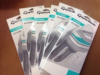 6 X  Taylormade Ribbon Ladies Leather/Lycra Golf Gloves Large