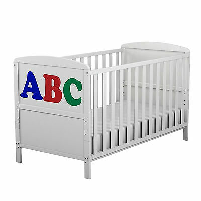 New 4Baby White Wood Abc Cot Baby Cotbed Converts To Junior Toddler Bed