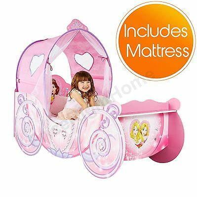 Disney Princess Carriage Feature Toddler Bed Plus Foam Mattress New Free P+P