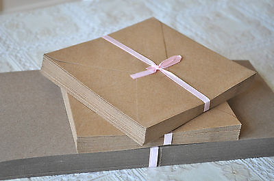 25pk Square Natural Kraft Recycled Blank Cards And Envelopes Wedding Invitation