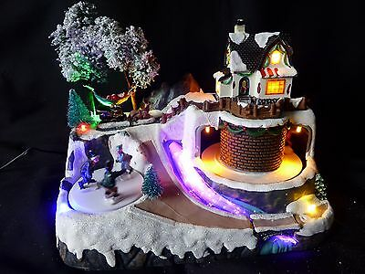 Colour Changing Light Up LED Musical Moving Christmas Village Scene in 4 Designs