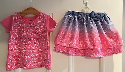 Hello Kitty Girls Outfit Skirt Dress Top T Shirt Top Pink Blue 4 Yrs Worn Once