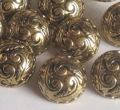 """set 11 Fancy Scrolled DOME vintage new Antiqued Gold tone Buttons 23mm 7/8"""""""
