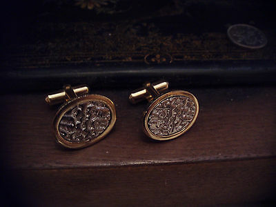 Vintage Oval Gold & Silver Cuff links, Great Quality