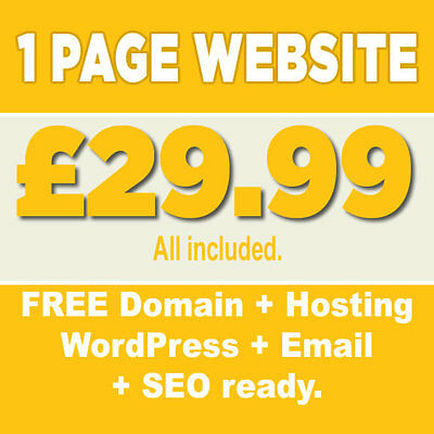1 Page Website design (Personal and Business) - FREE Domain - FREE Hosting