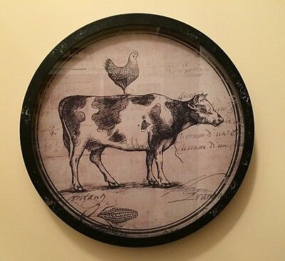 French Country - Farmhouse Cow & Rooster Under Glass Round Frame - New