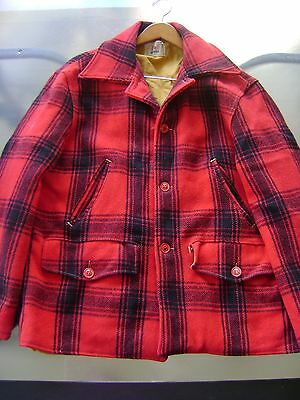 Vintage Men's Red Wool Red & Black Plaid Hunting Jacket Coat Size Large 40-42?