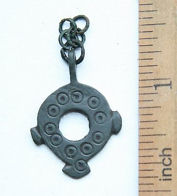 Ancient Bronze Decorated Pendant Amulet ''SUN'' On Chain. Viking Age.