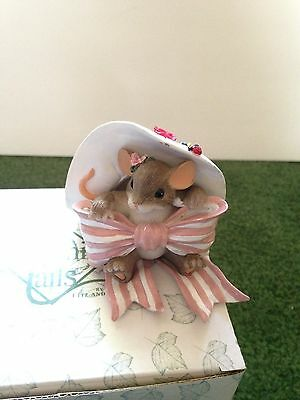 Fitz & Floyd Charming Tails Pretty In Pink Mouse Figurine