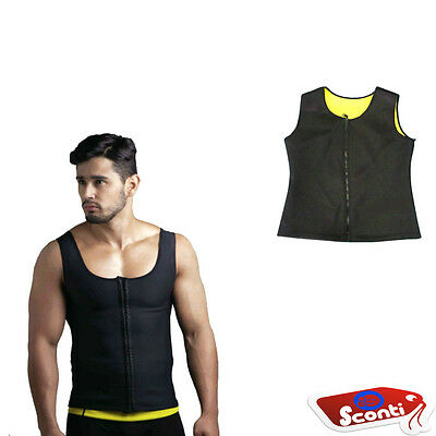 HOT SHAPERS UOMO CANOTTA Sauna Dimagrante Fitness Suda sudare Running con ZIP