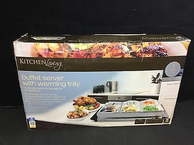 Kitchen Living Buffet Server with Warming Tray, 4 Stainless Steel Trays *NEW*