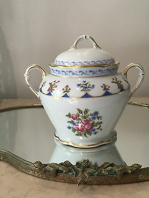 HTF New BERNARDAUD LIMOGES FRANCE CHATEAUBRIAND BLUE COVERED SUGAR BOX BOWL LID