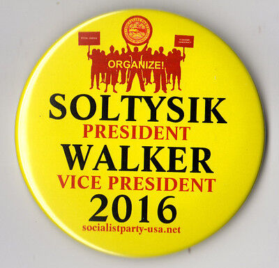 Mimi Soltysik campaign button pin 2016 Socialist Party USA #6 LARGE