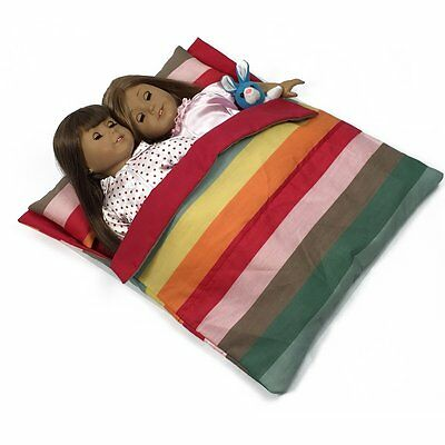 """Doll Bedding Striped Pattern Reversible Twin Doll Sleepover Bag for 18"""" Dolls"""