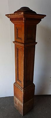 Antique Oak Wood Newel Post Egg Dart Old Vtg Ornate Interior Staircase 1970-16