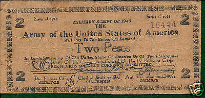 IV Philippine Corps P711A 1943  Free Negros Military Currency 2 Pesos