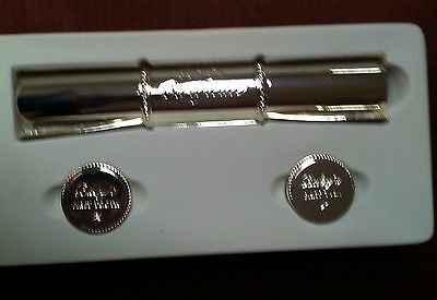Silver Plated Birth Certificate Set Scroll Tube First Tooth And Curl  Unisex