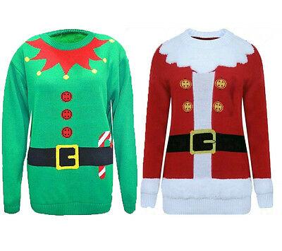 New Women Christmas Santa Elf Jumper Knitted Sweater Ladies Top Unisex Sizes