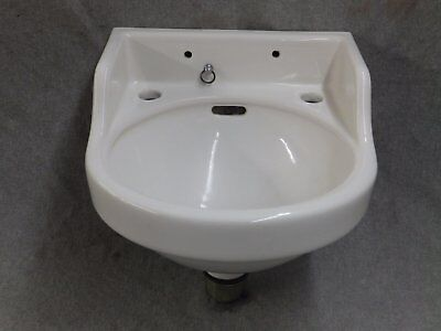 Small Vintage White Porcelain Ceramic Wall Mount Bathroom Sink Old 1972-16