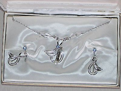 Vintage Espo Sterling Silver Cultured Pearl Necklace & Earrings Set Original Box