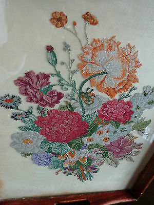 Antique C1850 Americana Rare Hand Made Petite-Point Tapestry In Wooden Tray